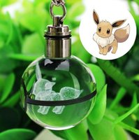 porte-clés led 3d achat en gros de-Mode Bulbasaur Dragonite 3D Gravure boule de verre Lampe Pokemons Go Nouveauté Lumière LED Porte-clés Coloré Pendentif Enfant Cadeau