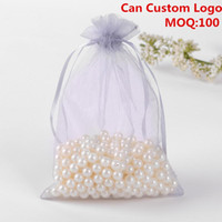 Wholesale logo gift bags small for sale - Group buy x18cm Grey Organza Jewelry Gift Bags Small Drawstring Pouches Candy Bags Party Customed Logo Printed