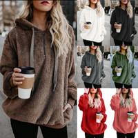 pelz-pullover großhandel-Fleece Pullover Frauen Mit Kapuze Damen Pullover 2018 Winter Pullover Frauen Mit Kapuze Pelz Weihnachten Pullover Pull Femme Hiver Jumper