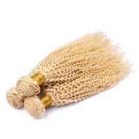 ingrosso capelli ricci 4pc-Capelli ricci crespi capelli umani brasiliani di estensioni dei capelli brasiliani # 613 3pcs acconciati capelli ricci biondi crespi acconciati
