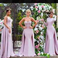 light purple bridesmaid dresses al por mayor-2019 Light Purple vestidos de dama de honor con tren por encargo satinado sirena vestido de fiesta vestidos de fiesta elegante vestido de noche elegante