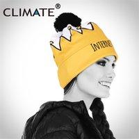 güzel taç toptan satış-İKLIM Kadın Kızlar Kış Sıcak Ponpon Şapka Kasketleri Benzersiz Internet Yıldız Prenses Taç Şapka Güzel Örme Sıcak Ponpon Beanie