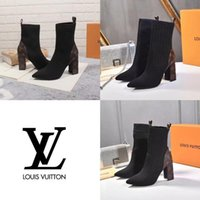 Wholesale women martin leather motorcycle for sale - Group buy 2020 New Fashion Luxury Lady Sock Booties Fashionable Comfortable Leather Woman Boots Presbyopia Martin Boots Heel height cm size