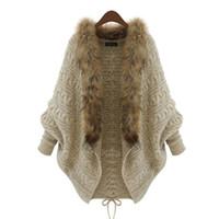yılbaşı kazak atıcıları toptan satış-Modecrush Womens Faux Kürk Yaka Örme Kazak Ceket Batwing Kollu Hırka Lace Up Kış Giysileri Noel Jumper 2018