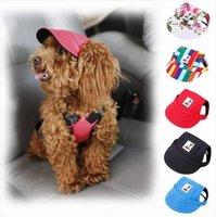 ingrosso cappelli di cane estivo-Spedizione gratuita all'ingrosso 2019 pet dog cappello berretto da baseball estate tela cap per pet dog outdoor accessori cappello cap
