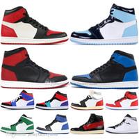top de renda azul real venda por atacado-Barato 1 alta OG Baned toe Homem-Aranha UNC 1s top 3 Mens sapatos de basquete Homage To Home Chicago Azul Royal Men Sports Designer Sneakers