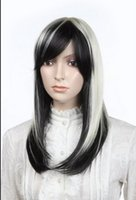 Wholesale white black straight wig for sale - WIG AZ102 Hot Sell Cos Harajuku light White Black gradient Rose Red long straight cosplay wi Cosplay big spiral Straight Wig