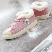 Wholesale new Winter Women Canvas Shoes Warm Fleeces Cotton Shoes Low Lace up Sneaker with Letter Print Star Decor Flat Skate Footwear