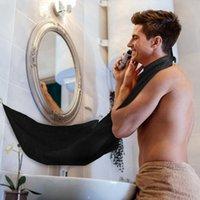 weiße tuchschals großhandel-1 stücke Männlichen Bart Schürze Rasieren Schal Tuch Sauber Catcher Bad Schwarz Weiß Trimmer Haar Wasserdicht Schützen 120x80 cm