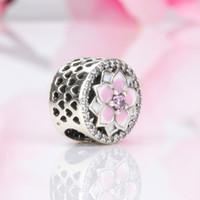 Wholesale-Flower Charm Beads Luxury Designer Jewelry with Box for Pandora 925 Sterling Silver CZ Diamond DIY Women's Bracelet Bead