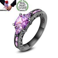 ingrosso anello di cerimonia nuziale dell'ametista-OMHXZJ Personalità all'ingrosso di moda OL donna ragazza regalo di nozze del partito nero ametista 18KT anello in oro nero RN29