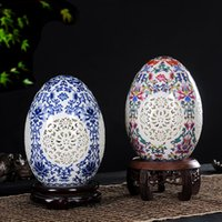 ingrosso jingdezhen ornamenti-Jingdezhen Porcelain Vase Ornaments Decorative Hollowed Out Lucky Eggs Artigianato Arredamento Soggiorno Accessori Vaso regalo