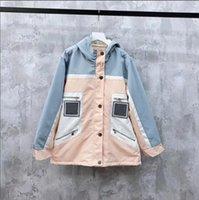 jaqueta para mulheres algodão azul cor venda por atacado-alta mulheres finais menina soprador com capuz jaqueta de patchwork letra listrado remendo zip acolchoado bombardeiro algodão casaco parka outerwear design de moda