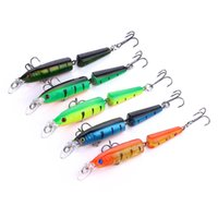Wholesale 10pcs Artificial Bass Pike Fishing Lures D Eyes Floating Wobbles Minnow Crankbaits Lifelike Skin Sections Jointed Fishing Baits