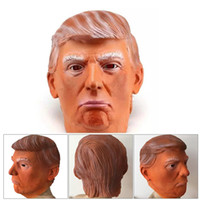 ingrosso maschere viso di celebrità-Donald Trump Costume Mask Halloween Realistico Latex Masquerade Carnival Mask Hood Celebrity Face COS Maschera Star imitazione Show