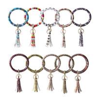 Wholesale chain crystal ball bracelet resale online - Mixed Colors PU Leather O Key Chain Custom Circle Tassel Wristlet Bracelet Keychain Women Girl Key Ring Wrist Strap