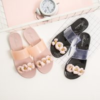 конфеты из цветного желе оптовых-Camellia Flowers Slippers Jelly Sandals Women  Candy Beach Shoes Summer Butterfly-knot Flats Slippers Casual Women Slides