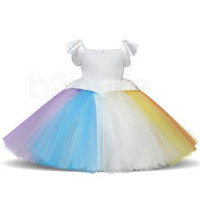 Wholesale knee dresses online - Little Girl Unicorn Dresses Princess Girls Cosplay Dress Up Costume Kids Party Tutu Gown Clothing Children Flower Clothes RRA372