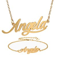 Wholesale angela resale online - Fashion Jewelry Stainless Steel Name Necklace Bracelet Set quot Angela quot Script Letter Gold Choker Chain Necklace Pendant Nameplate Gift