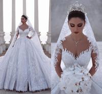 ingrosso vestito da cerimonia nuziale misura in rilievo-2020 lussuoso abito da ballo arabo in rilievo maniche lunghe abiti da sposa in pizzo tulle appliques 3D paillettes abiti da sposa aderenti taglie forti