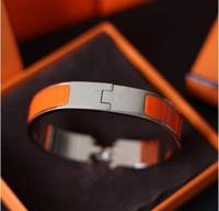 ingrosso marche famose di braccialetto uomini-Alta qualità 316L acciaio al titanio 12mm H Lettera braccialetti hardware oro Bangle donne e uomini marca famosa gioielli moda pulsera con scatola