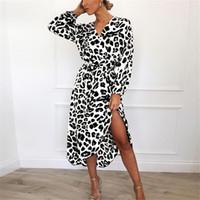 ingrosso migliore dimensione della vita-2019 Nuovo Desiger Dress Best Selling Western Style Leopard con scollo a V a vita alta cucita irregolare per le donne vestiti 4 colori formato asiatico S-2XL