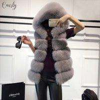 jaqueta de inverno forrada de pele feminina venda por atacado-Jacket alta Fur Vest Com Cashmere Forro Brasão Faux Fox morno mulheres Brasão Coletes Winter Fashion Furs Womens Coats Qualidade