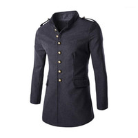 Trench Coat Single Breasted Long Sleeve Mens Coat Pocket Winter Fashion Mens Tops Solid Color Mens