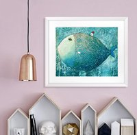 Wholesale wall fish panel resale online - Kawaii Animal Big Fish Small House Modern Nordic Cartoon Child Care Wall Art Decoration Painting Child Baby Room No Frame