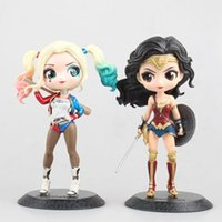 Wholesale wonder women doll for sale - Group buy Wonder Woman Harley Quinn Cute Model Doll cm PVC New Figurine Toys Collection Anime Action Figure for Christmas gift LZ039