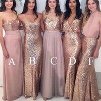 8fd58c664c Vestidos de dama de oro elegantes cariño lentejuelas gasa una línea de  longitud del piso largo vestidos de dama de honor baratos
