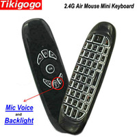 micrófono mini caja de tv android al por mayor-Tikigogo C120 Retroiluminación Micrófono Voz 2.4g Fly Air Mouse Mini Teclado Inalámbrico Para Android Smart Tv Box Pc Control Remoto J190523