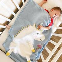 niños de dibujos animados durmiendo al por mayor-4 colores 60 * 120cm Mantas para dormir para bebés Manta para caballos de dibujos animados Manta para niños Hilo de lana Manta de punto Playa Mat Crochet Swaddling Towel M322