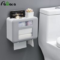 dispensadores de papel higiénico al por mayor-Montado en la pared la caja de papel del papel higiénico del titular del teléfono de doble capa impermeable baño Rolls tejido titular dispensador de almacenamiento