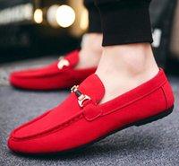 ingrosso mens comfort loafer-Scarpe casual da uomo scivolate sul comfort Scarpe morbide in pelle scamosciata maschile leggere scarpe da passeggio mocassini traspiranti mocassini N088