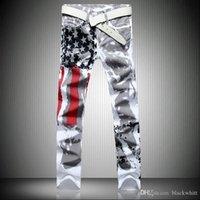 bandera americana jeans hombres al por mayor-Pantalones Vaqueros Estampados de la Bandera Americana Blanca Americana de Estiramiento Pantalones de Rayas Rojas Rojas Rojas de cinco puntas Pantalones Vaqueros de Hombre Tallas S-5XL