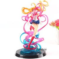modelo luna marinero al por mayor-Sailor Moon Anime Petit Chara Pretty Guardian Tsukino Usagi Crystal Poder Maquillaje PVC Figura de Acción Colección Modelo de juguete