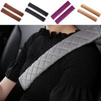ingrosso coprisedile rosa nera-2Pcs / Set Car Seat Belt Pads molle della peluche della cintura di sicurezza Cuscino Tracolla Protector 33 centimetri Seatbelt Covers nero grigio rosa