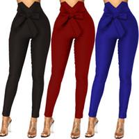 4 Colour S-XL Women's Pants Trouser Pants Slim Fit Bow Leggings High waist elastic Casual Trouser Formal 57280544286651