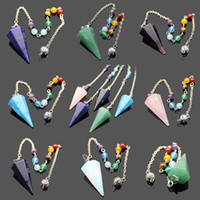 Wholesale pendulum jewelry for sale - Group buy Necklace Top Plaza Chakra Healing Crystal Tumbled Palm Stones Natural Clear Quartz Dowsing Pendulum Reiki Balance Meditation Jewelry Sets