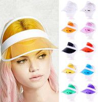 Wholesale purple yellow sports hats resale online - New Unisex Summer Neon Sun Visor Hat For Golf Sport Tennis Headband Cap Casual colors