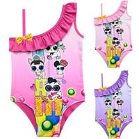 ingrosso le neonate nuotano i vestiti-Cartoon Surprise Girls Swimsuit Neonate Costumi da bagno Estate Ruffle Bow Tuta da bagno Per bambini Designer One Piece Beach Suit Abbigliamento A21904