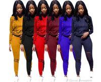 женщины большой толстовки оптовых-Big C Женщины Дизайнерские Спортивные Костюмы Сплошной Цвет Толстовки С Капюшоном Брюки 2 шт. Наборы Одежды
