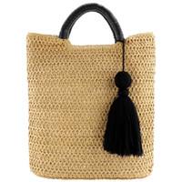ingrosso tote di paglia colore-Handbag LJL-2 cavità di colore Fringed Woven Bag paglia maniglia di legno di colore naturale Shopping Bag Moda Donna nappa Messenger