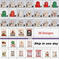 Wholesale canvas toy storage for sale - Group buy Christmas Bags Santa Sack Kids Gifts Candy Drawstring Bags Claus Deer Xmas Toys Supplies Canvas Party Handbags Storage Bags Decorations