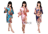 çiçekler cüppesi toptan satış-2-14 yaş Bebek kız İpek Kimono Robe Pijama Gecelik Pijama Broken Çiçek Kimono İç çocuklar gecelik çocuklar pjms şakayık