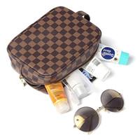 Wholesale up cosmetic bag resale online - Fashion PU Checked Cosmetic Bags Women PU Grid Handbag Organizer Portable Travel Make Up Bags Organizer styles RRA1693