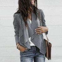 chaqueta de manga drapeada al por mayor-Capa ocasional de las mujeres manga larga de la cascada Cardigan delantera abierta Blazer de gamuza chaqueta cubre