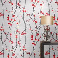 wallpaper für hotelzimmer großhandel-Tapete Plum Blossom Peach New chinesischen Stil Tapete Wohnzimmer Study Room Hotel Bedside Hintergrund