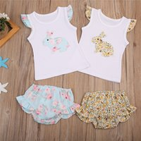 Wholesale baby girl clothing wholesale for sale - Easter Baby girls bunny outfits Newborn floral rabbit print top ruffle Shorts set summer boutique kids Clothing Sets B11